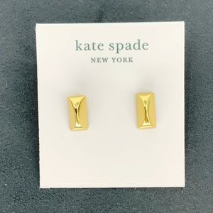 Kate Spade Small Gold Rectangle Bar Stud Earrings